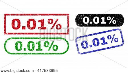 0.01 Percent Grunge Watermarks. Flat Vector Textured Watermarks With 0.01 Percent Message Inside Dif