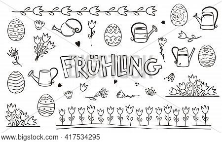 German Spring Coloring. Doodle Elements For Seasonal Calendar. Hand-drawn Doodle Objects Isolated On