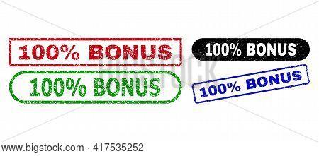100 Percent Bonus Grunge Stamps. Flat Vector Grunge Seal Stamps With 100 Percent Bonus Text Inside D