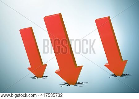 Concept of economic crisis with chart - 3d rendering