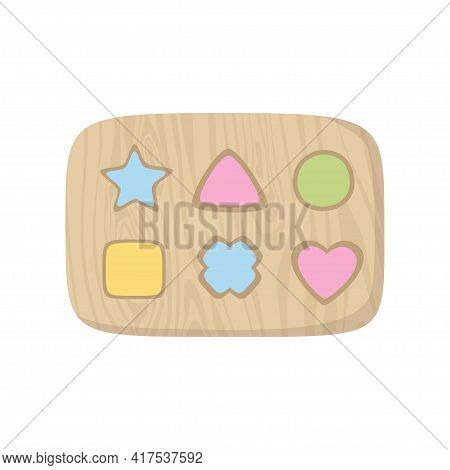 Wooden Shape Sorter Toy For Babies. Montessori System For Early Childhood Development, Learning Shap