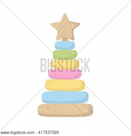 Assembled Colorful Wooden Pyramid Sorter Toy. Building Stack Up Ring Tower. Montessori System For Ch