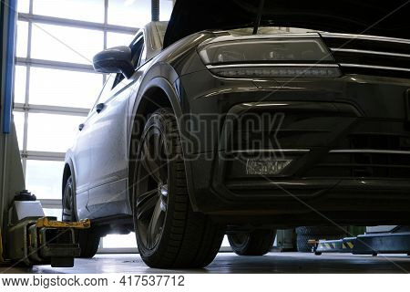 Moscow Russia - April 18 2021: Modern Car In A Car Service.