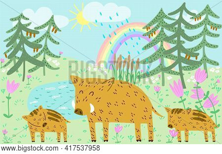Cute Boar Family Dad And Piglets Forest Landscape With Sky, Rainbow And Rain Hand Drawn Vector Illus