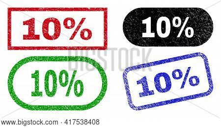 10 Percent Grunge Seal Stamps. Flat Vector Scratched Seal Stamps With 10 Percent Caption Inside Diff