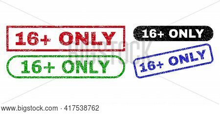 16 Plus Only Grunge Seal Stamps. Flat Vector Distress Seal Stamps With 16 Plus Only Phrase Inside Di