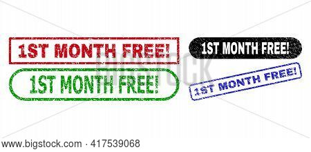 1st Month Free Exclamation. Grunge Watermarks. Flat Vector Grunge Watermarks With 1st Month Free Exc