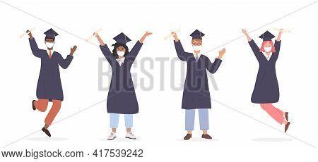 Multi Ethnic Male And Female Pupils Wearing Medical Face Mask Celebrating University Graduation. Gro