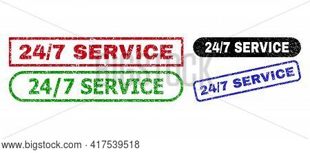 24 - 7 Service Grunge Seal Stamps. Flat Vector Scratched Stamps With 24 - 7 Service Slogan Inside Di