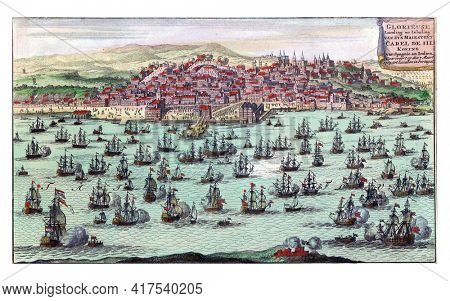 Arrival of the Dutch-English fleet with King Charles III in Lisbon, vintage engraving.