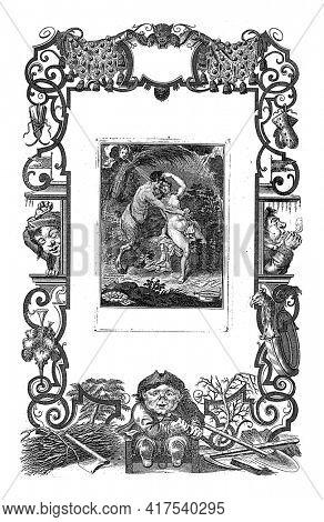 Lukewarm commemoration, vintage engraved illustration.