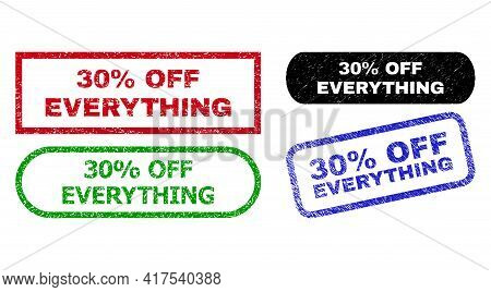 30 Percent Off Everything Grunge Stamps. Flat Vector Grunge Stamps With 30 Percent Off Everything Me