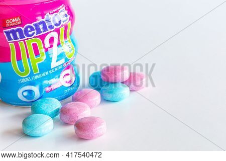 Rio De Janeiro, Brazil - April 19, 2021: Mentos Chewing Gum Without Sugar