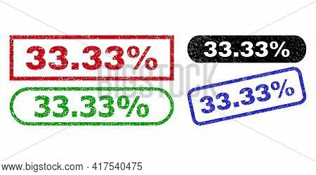33.33 Percent Grunge Seal Stamps. Flat Vector Grunge Watermarks With 33.33 Percent Text Inside Diffe