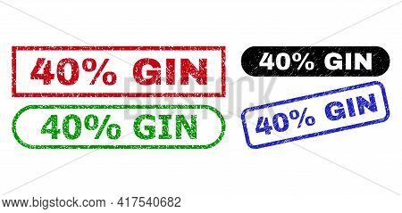 40 Percent Gin Grunge Watermarks. Flat Vector Grunge Seals With 40 Percent Gin Message Inside Differ
