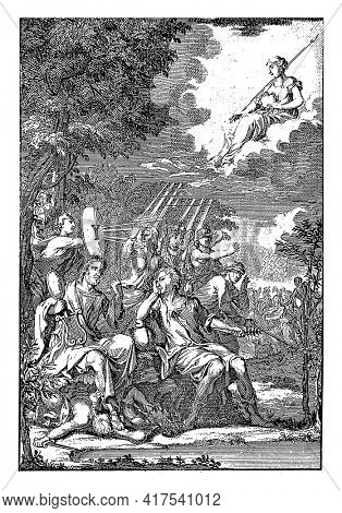 Mirror of Reason for the desperate Actionist, vintage engraving.