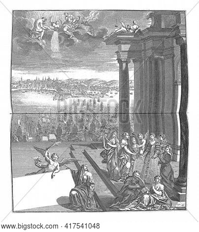 Arrival of Maria Anna of Austria in Lisbon, 1708, vintage engraving.