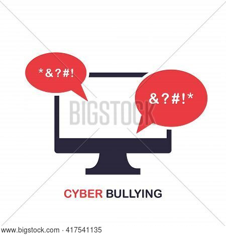 Cyber Bullying Icon. Cyberbullying Victim. Abuse, Internet Online Hate, Swear And Insult Concept. Ic