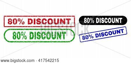 80 Percent Discount Grunge Seal Stamps. Flat Vector Distress Seal Stamps With 80 Percent Discount Ti