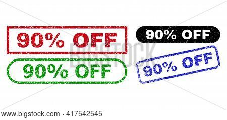 90 Percent Off Grunge Seal Stamps. Flat Vector Grunge Seal Stamps With 90 Percent Off Text Inside Di