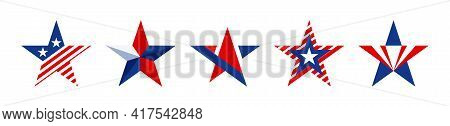 Star Shapes Set In Red Blue And White Color For American Design Isolated On White Background. Collec