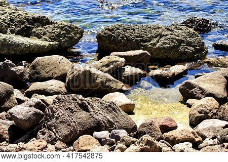 Rock Textures On The Shore In Cabo De Gata, Almeria, Andalusia, Spain