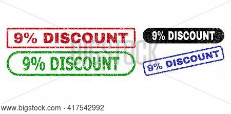 9 Percent Discount Grunge Watermarks. Flat Vector Scratched Seals With 9 Percent Discount Phrase Ins