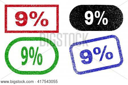 9 Percent Grunge Watermarks. Flat Vector Grunge Watermarks With 9 Percent Tag Inside Different Recta