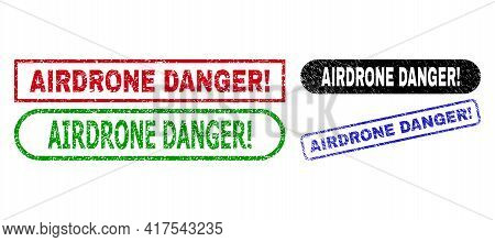 Airdrone Danger Exclamation. Grunge Seal Stamps. Flat Vector Scratched Stamps With Airdrone Danger E