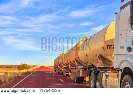 Northern Territory, Australia - August 29, 2019: Fuel Road-train Truck Crossing The Highways Of The
