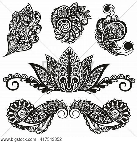 Set Of Paisley Elements With Flowers  For Your Design