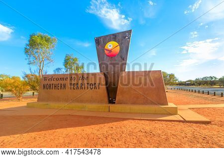Northern Territory Outback, Australia - Aug 27, 2019: Border Sign Between Australian States, Norther