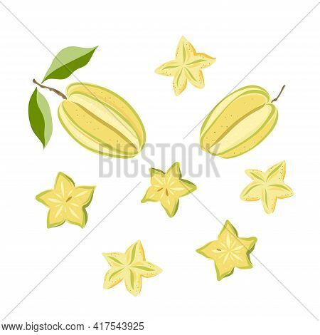 Carambola, Star Fruit. Whole, Slice, Leaf. Colorful Sketch Collection Of Tropical Fruits Isolated On