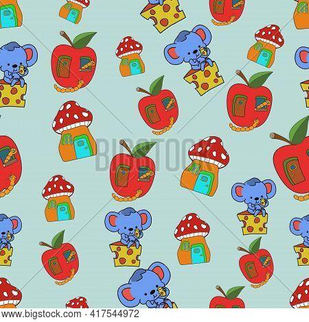 Seamless Children's Pattern. Mouse, Cheese, Apple, Mushroom, Caterpillar. Vector Illustration.