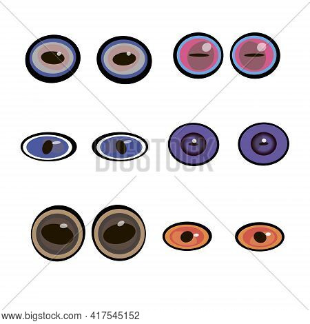 Cartoon Eyes. Set Of Predatory Eyes. The Look Of The Monsters. Funny Eyes. A Collection Of Emotional