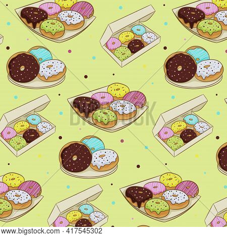 A Set Of Colorful Donuts In Icing, Isolated On A White Background. Vector Illustration In Cartoon Fl