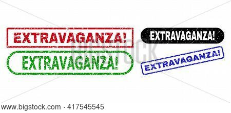 Extravaganza Exclamation. Grunge Seal Stamps. Flat Vector Grunge Seal Stamps With Extravaganza Excla