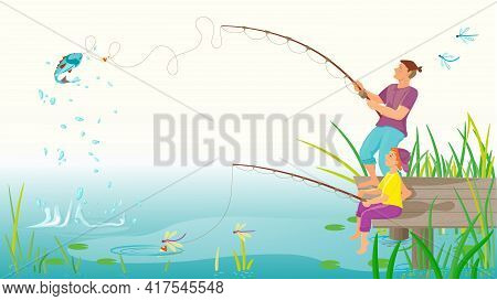 Father And Son Go Fishing Together On A River Or Lake. Vector Illustration Of A Happy Family On Fath