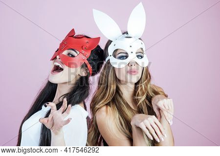 Woman In Erotic Rabbit Mask. Dominant, Mistress, Bdsm.