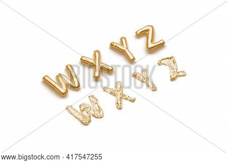 Inflated, Deflated Gold W X Y Z Letters, Balloon Font, 3d Rendering. Empty Bubble Lettering For Birt