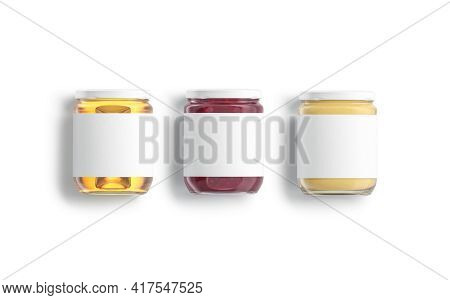 Blank Glass Jar With Honey, Jam And Peanut Butter Mockup Lying, 3d Rendering. Empty Conserve With Sw