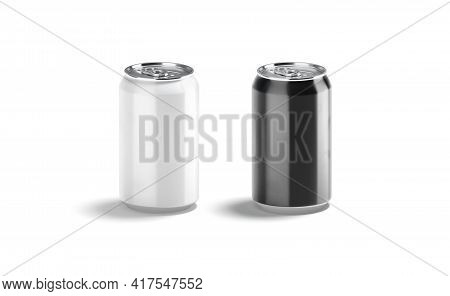 Blank Black And White Aluminum 330 Ml Soda Can Mockup, Isolated, 3d Rendering. Empty Lemonade Or Wat