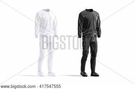 Blank Black And White Sport Tracksuit With Bomber, Pants Mockup, 3d Rendering. Empty Street Wear For