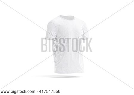 Blank White Wrinkled T-shirt Mockup, Side View, 3d Rendering. Empty Everyday Crumpled Fabric Wear Un