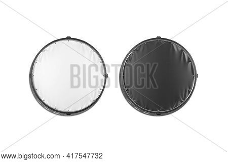 Blank Black And White Round Stretching Banner Mockup Set, Isolated, 3d Rendering. Empty Circular Scr