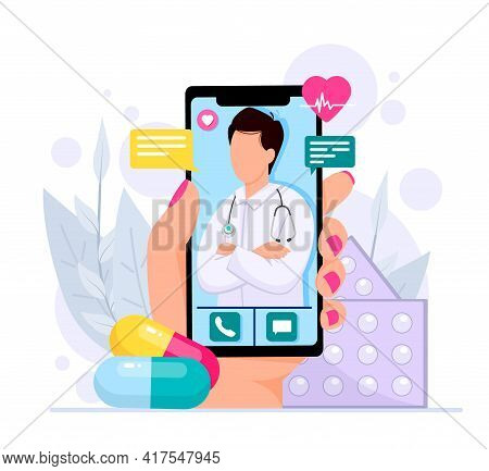 Online Medical Consultations Concept, Cardiology, Covid-19, Hand Holds Smartphone With A Therapist I