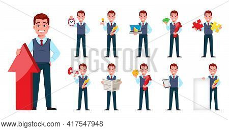 Handsome Business Man. Young Businessman Cartoon Character In Flat Style, Set Eleven Poses. Stock Ve