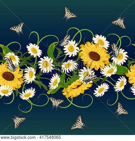 Sunflowers And Daisies In The Pattern.seamless Pattern With Sunflowers, Daisies And Butterflies On A