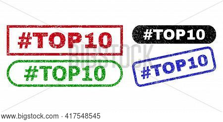 Hashtag Top10 Grunge Seals. Flat Vector Grunge Seals With Hashtag Top10 Slogan Inside Different Rect