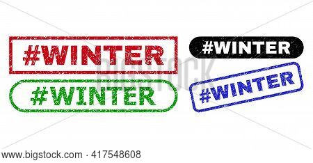 Hashtag Winter Grunge Watermarks. Flat Vector Grunge Seals With Hashtag Winter Phrase Inside Differe
